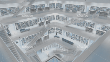 Modern library from the inside