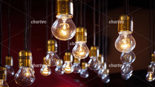 Hanging light bulbs with glow wires