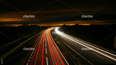 Long bulb exposure image of nightly road traffic