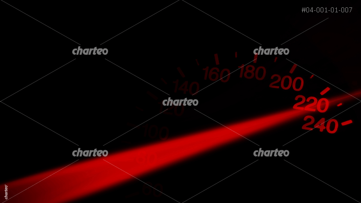Glowing tachometer with transparent red needle