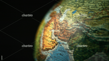 Close-up image of Middle East on desk globe