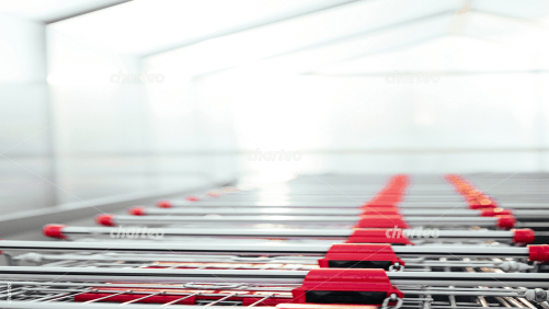 View over a row of shopping cart handles