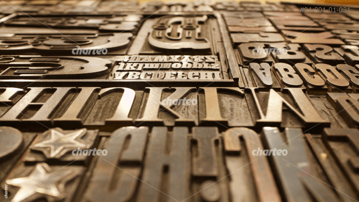 Lead typesetting letterpress mold with types