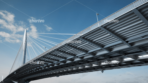 Cable-stayed bridge under blue sky