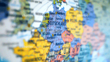 Lateral view of map focused on Germany