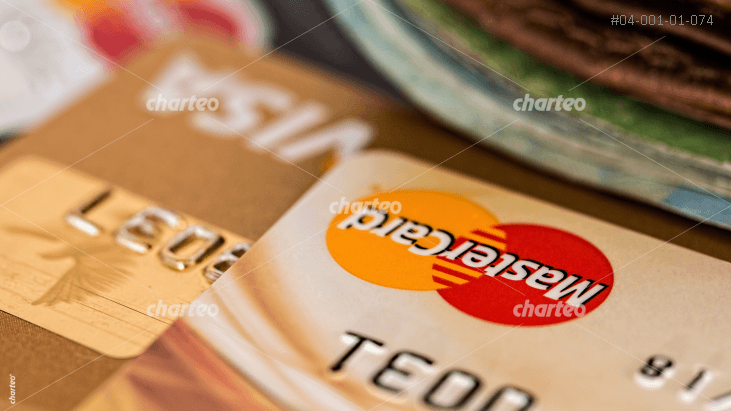 Two credit cards MasterCard and VISA