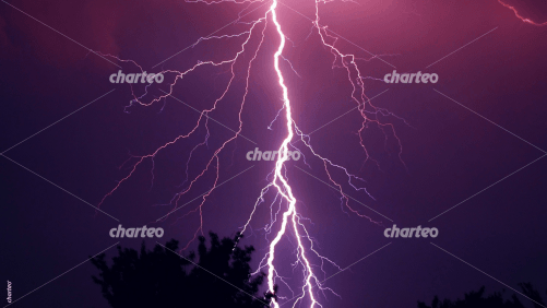 Violet lightning flash in thunderstorm