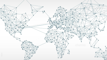 Worldmap with Linked Networks on Light Background 1