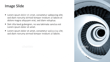 Placeholder text with image of a circular staircase