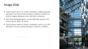 Placeholder text with image of glass facade from inside