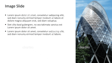 Placeholder text with image of round skyscraper with glass facade