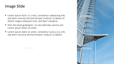 Placeholder text with image of building with glass partition
