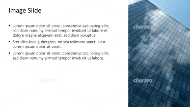 Placeholder text with image of skyscraper with glass facade
