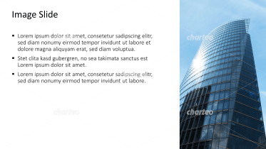 Placeholder text with image of building made of glass