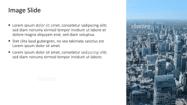Placeholder text with image of a metropolis with skyscrapers