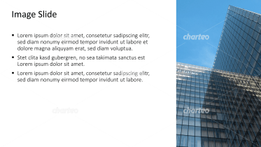 Placeholder text with image of angular office building