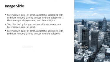 Placeholder text with image of metropolis with several skyscrapers