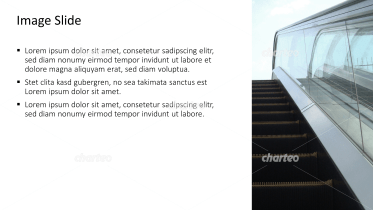 Placeholder text with image of a moving staircase