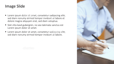 Placeholder text with image of a man writing