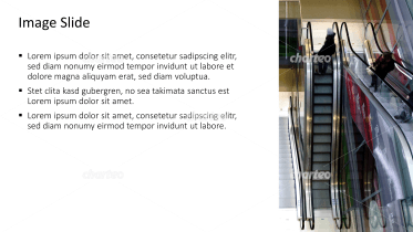 Placeholder text with image of moving staircases