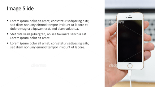 Placeholder text with image of smartphone with power plug