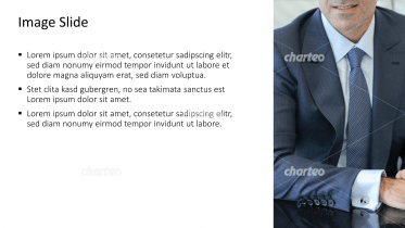 Placeholder text with image of business man with tie