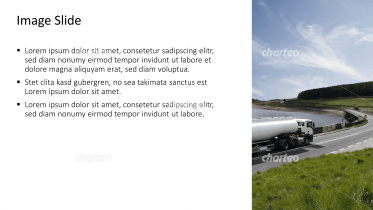 Placeholder text with image of fuel truck on the road
