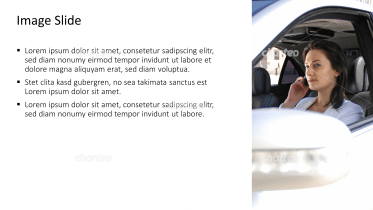 Placeholder text with image of woman in her car