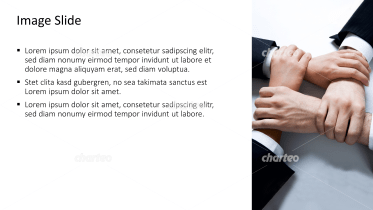 Placeholder text with image of business men's hands