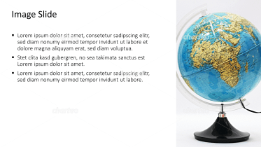Placeholder text with image of desk globe
