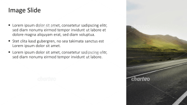 Placeholder text with image of road with green hills
