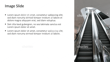 Placeholder text with image of a long moving staircase