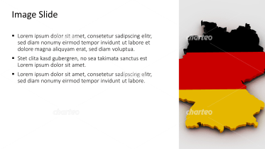 Placeholder text with an outline and flag of Germany