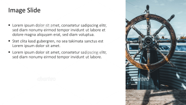 Placeholder text with image of ship's steering wheel