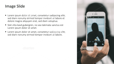 Placeholder text with image of selfie with smartphone