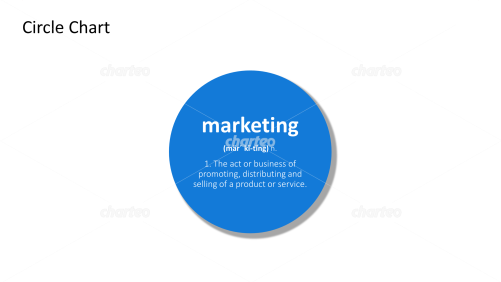 Marketing - definition and phonetic spelling in filled circle
