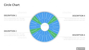 Radial donut chart in three segments