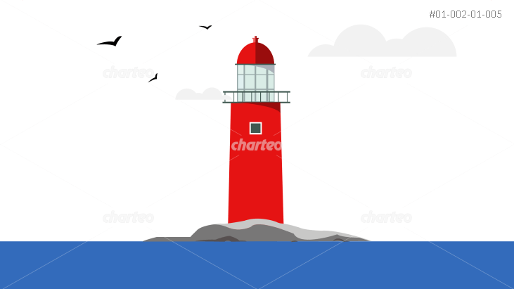 Red lighthouse on rocky island at the sea