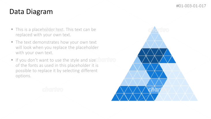 Triangle diagram made of differently colored triangles