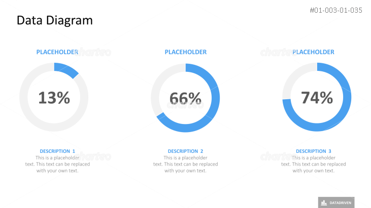 Three donut charts showing percentages with description placeholder