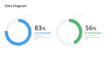 Two donut charts showing percentages with description placeholder
