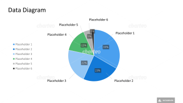Pie chart with six segments and description placeholders