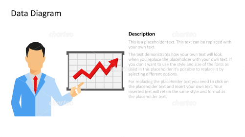 Male persona icon pointing at chart with line graph