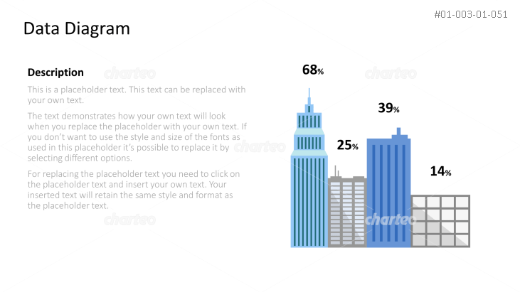 Column diagram made of skyscrapers with percentages