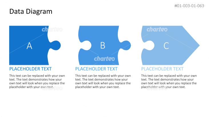 Flow chart with three separate numbered puzzle pieces