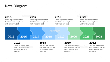 Timeline with years in horizontal process chart