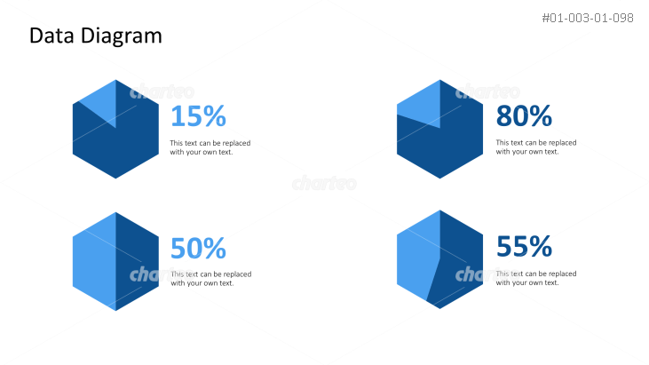 Four hexagonal shaped pie charts showing percentages