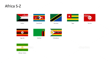 Rectangular national flags - Africa S-Z