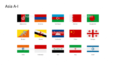 Rectangular national flags - Asia A-I