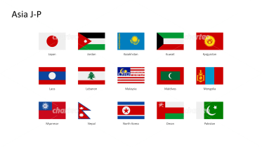 Rectangular national flags - Asia J-P